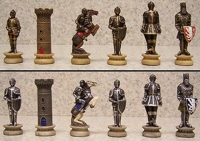 Chess Set Pieces Medieval Knights in Armor NIB