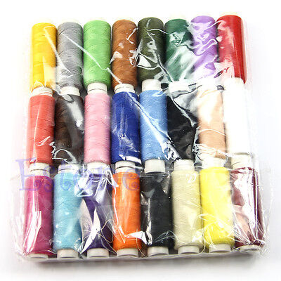 24 Rolls Assorted Colour Spools Finest Quality Cotton Sewing Threads Cones Set