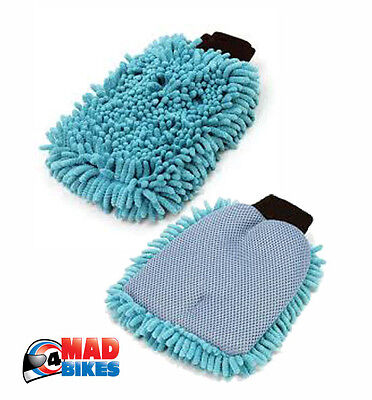 2 In 1 2 Sided Microfibre Chenille Wash Mit Glove , Motorcycle, Caravan, Scooter