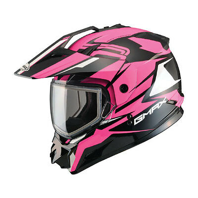 New Gmax Gm11 Vertical Pink Helmet Mx Atv Snow Street Dual Sport Visor & Shield