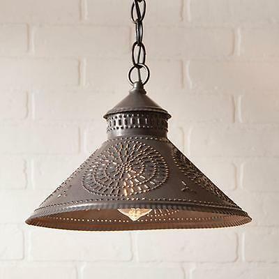 Primitive new STOCKBRIDGE aged blackened tin shade hang ceiling light /nice