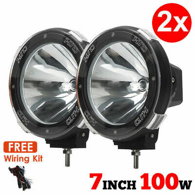 2 x 7INCH 100W DRIVING LIGHTS HID XENON SPOT 4X4 OFF ROAD UTE WORK 12V 707A
