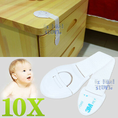 10x Adhesive Kids Child Baby Cute Safety Lock For Door Drawers Cupboard Cabinet