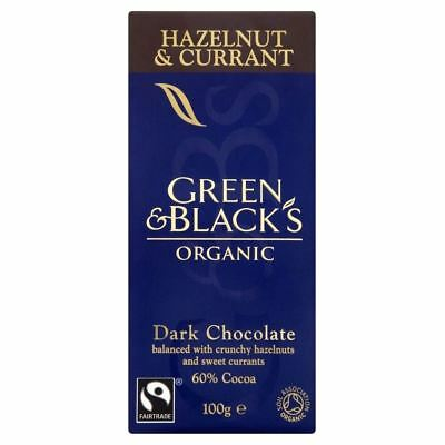 Green & Black's Organic Dark Chocolate - 60% Cocoa Hazelnuts & Currant (100g)