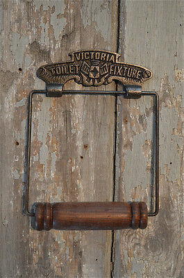 Classic Antique Style Victoria Cast Iron & Wood Toilet Roll Holder