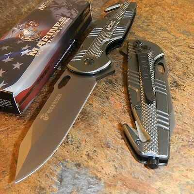 MTECH USMC Marines Officially Licensed Spring Assisted Opening Rescue Knife Grey