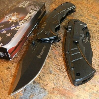 USMC Marines Spring Assisted Opening BLACK Tactical Folding Pocket Knife NEW