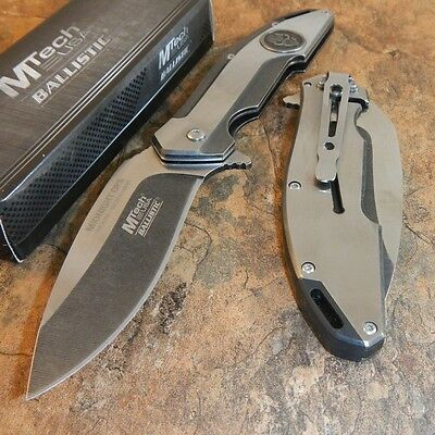 MTECH Ballistic MIDNIGHT OPS SKULL Spring Assisted Open STONE WASH Pocket Knife