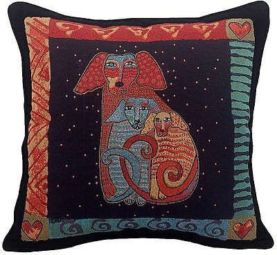 Laurel Burch Embracing Dogs Tapestry Throw Pillow Finished USA Dog RETIRED