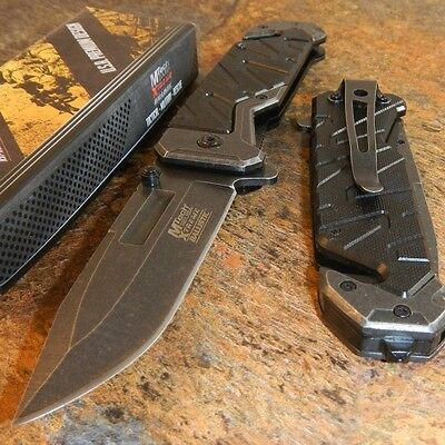 MTech Xtreme BLACK G10 Spring Assisted Open Tactical Folding Rescue Pocket Knife