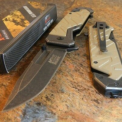 MTech Xtreme TAN G10 Spring Assisted Open Tactical Folding Rescue Pocket Knife