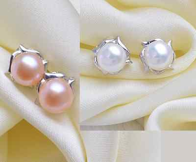 7-8 mm Genuine Sterling Silver Freshwater White Pink Pearl Stud Earrings Box A16