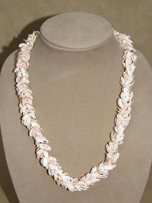 """Vintage 70s Chunky Hawaiian Polished Pink Stacked Sea Shell Lei Necklace 24"""""""