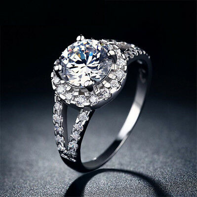 Silver Cubic Zirconia New Wholesale Jewelry Wedding Ring Size 6-10