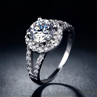 Womens Round Cut CZ White Gold Filled Wedding Ring Set Engagement Size 5-10