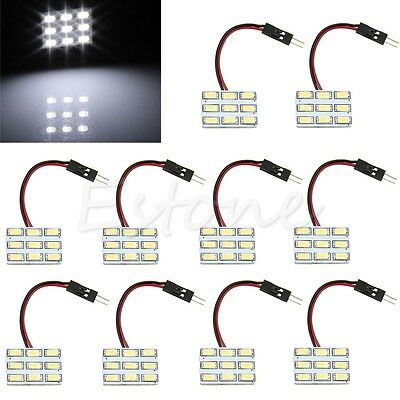 10x White T10 BA9S 9 LED 5630 SMD 12V Panel Festoon Car Interior Door Light Bulb