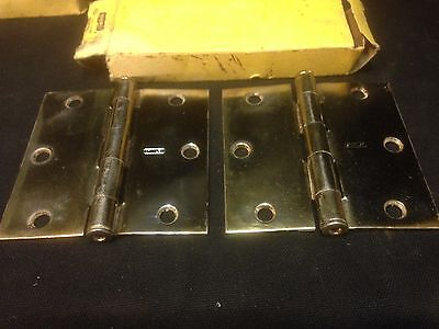 Pair Of Vintage Stanley Brass Plated Nos 3 1/2 Inch X 3 1/2 Inch Door Hinges  1