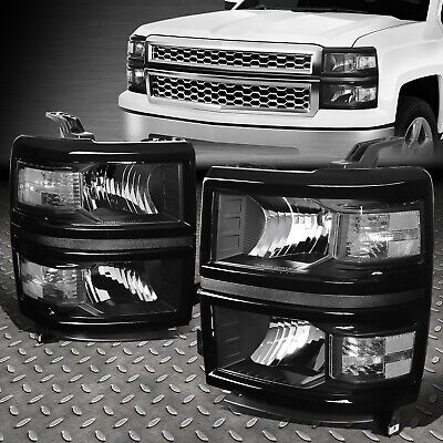 For 2014-2015 Chevy Silverado Pair Black Housing Clear Side Headlight/lamp Set