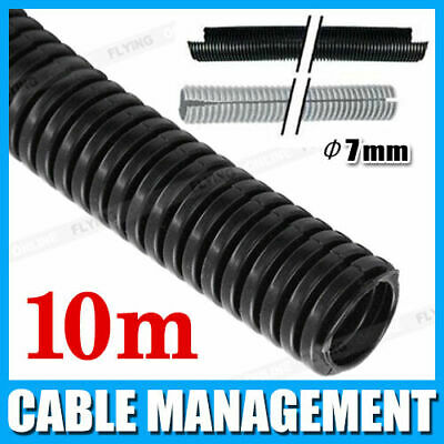 7mm 10m Split Loom Conduit Cable Management Convoluted Tubing Wire 10 Metres