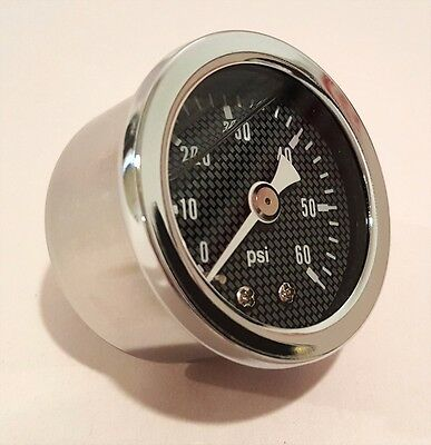 "Marshall 0-60 Psi Fuel / Oil Pressure Gauge Carbon Fiber 1.5"" Dia. Liquid Filled"