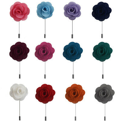 Various - Men's Handmade ROSE FLOWER Lapel Pin Stick BOUTONNIERE Wedding CORSAGE