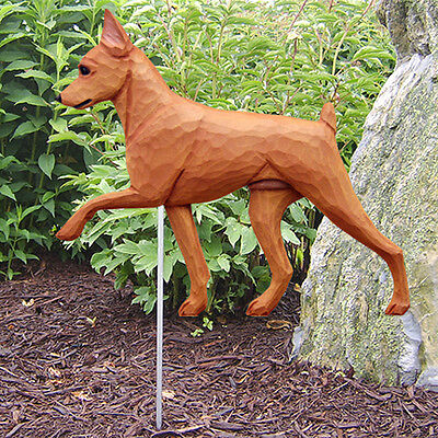 Mini Pinscher Outdoor Garden Dog Sign Hand Painted Figure Red