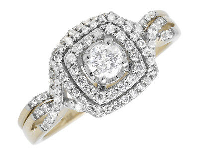 10k Yellow Gold Solitaire Diamond Infinity Engagement Wedding Ring Set .51ct