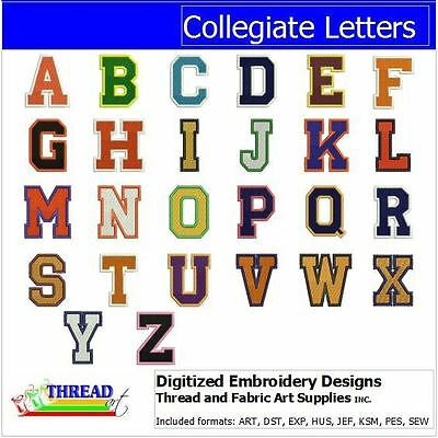 Embroidery Design Set - Collegiate Letters  - 52 Designs -9 Formats - USB Stick