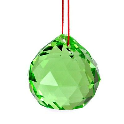 """GREEN FENG SHUI HANGING CRYSTAL BALL 1.5"""" 40mm Sphere Prism Rainbow Sun Catcher"""