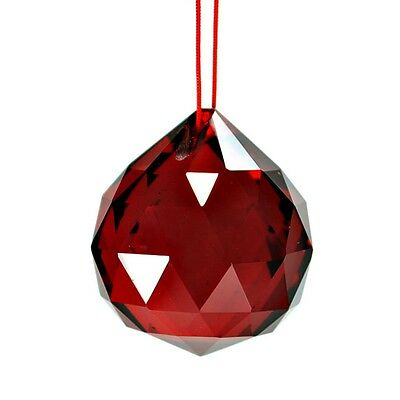 "RED FENG SHUI HANGING CRYSTAL BALL 1.5"" 40mm Sphere Prism Faceted Sun Catcher"