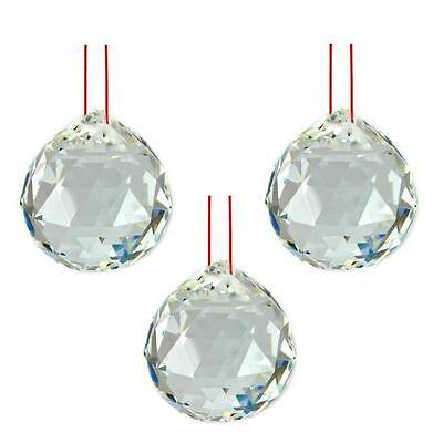 "LOT of 3 FENG SHUI HANGING CRYSTAL BALL 1.5"" 40mm Sphere Prism Faceted Wholesale"