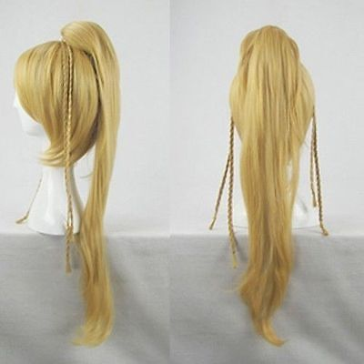 Final Fantasy Rikku cosplay wig BLONDE Long coser tail party costume hair &683