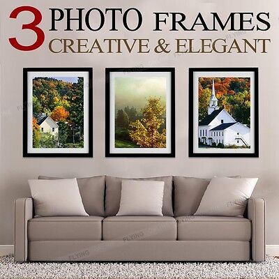 3PCS Black Photo Frame Set Picture Home Wall Mounted Decor Birthday Gift Present