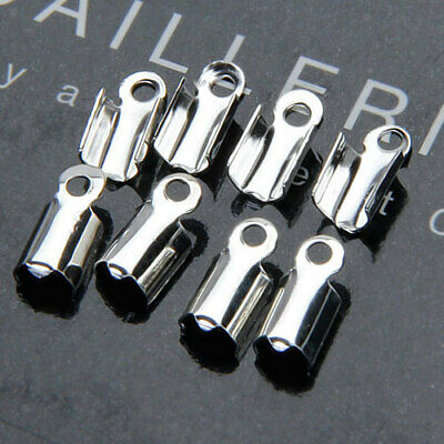 100X Silver Plated folding cord end crimp necklace tips