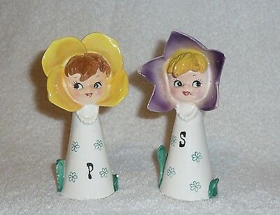 Vintage Pixieware Flower Girl Salt Pepper Shakers Lipper & Mann Anthropomorphic