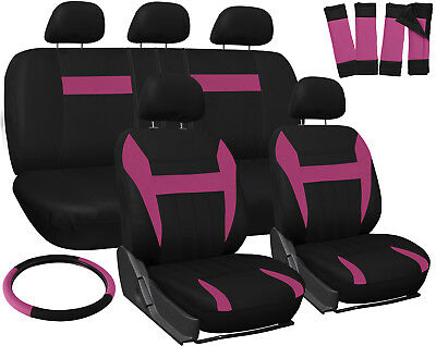 Car Seat Covers For Ford Focus Pink Black W Steering Wheelbelt