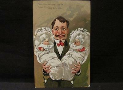 Man with Twin Infants 2 little darlings Vintage Color Postcard Calgary 1910 Canc