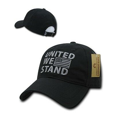 Black USA US American Flag Patch United We Stand America Polo Baseball Hat  Cap f22d175235d9