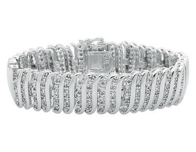 Ladies S Style Real Genuine Diamond White Gold Finished 7.5 inch Bracelet 2 ct
