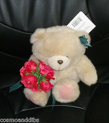 Forever Friends Gorgeous Medium Bear Wearing A Bow And Holding A Bunch Of Roses