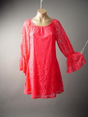 Retro Bright Coral Pink Lace Mod 60s Ruffle Sleeve Shift 141 mv Dress S M L XL