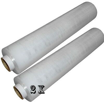 2 ROLL OF STRONG CLEAR STANDER PALLET STRETCH WRAP 400mm X 250m Cling Film D743