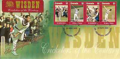 GRENADA 2000 WISDEN CRICKET SIR GARY SOBERS Set of 4v First Day Cover