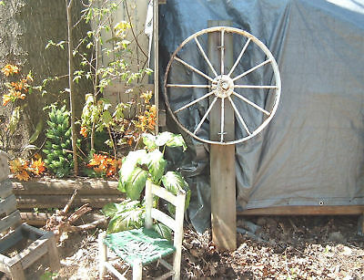 vtg cast iron farm wheel implement wagon wheel yard art garden chippy rustic 25""