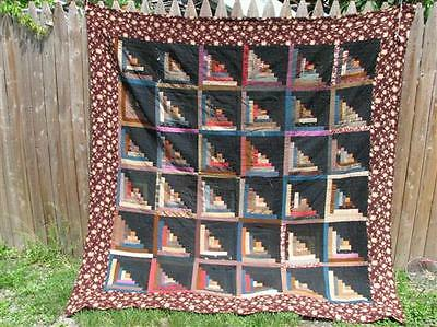 """Antique Log Cabin Patchwork Quilt 74"""" by 85"""" Hand Stitched Fields Furrows B"""