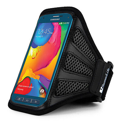 Black Mesh Workout Running Armband for Samsung Galaxy S7 / S6 Active / S5 Sport