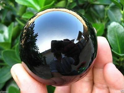 40MM+Stand Natural Black Obsidian Sphere Crystal Ball Healing Stone AA