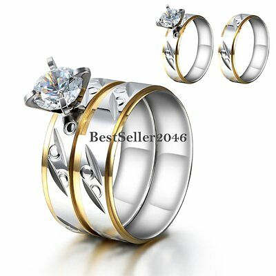 Round Cut CZ Silver Stainless Steel Wedding Ring Set Bridal Women's Size 6-9