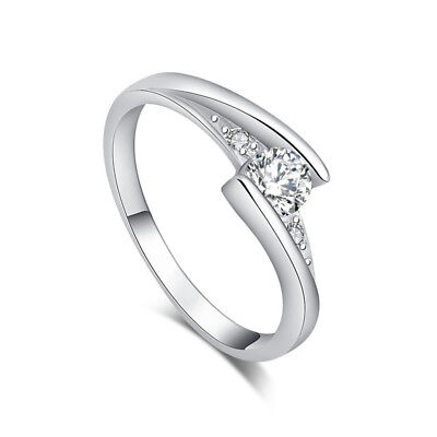 Silver Cubic Zirconia New Arrival Lovely Nice Lady Finger Band Ring Size 6-10