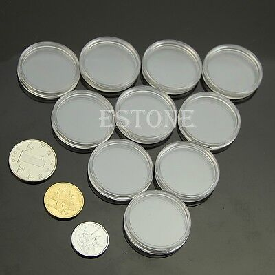 10pcs 26mm Applied Clear Round Cases Coin Storage Capsules Holder Round Plastic